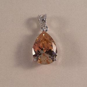 Jewelry - 18K WGF Morganite Topaz Zircon Pear Shape Pendant